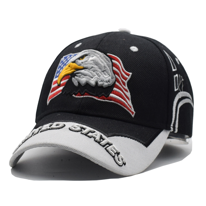 2018 Black Cap USA Flag Eagle Embroidery Baseball Cap Snapback Caps  Casquette Hats Fitted Casual Gorras Dad Hats For Men Women -in Baseball Caps  from ... 8123c525635