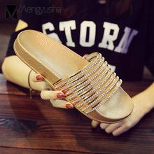 78d645a14 famous designer crystal sandals women flat rhinestone flip flops gold/silver  glitter beach slippers ladies summer shoes c360