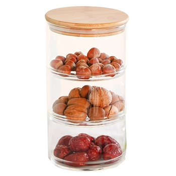 3 Layer Glass Kitchen Container Set and Food Storage Box Set For Spices and Dried Fruit Storage