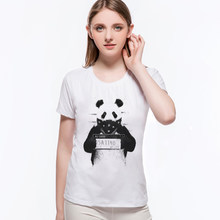Women 2019 Summmer Lovely Bad Panda Police Design Print T Shirt Fashion O-Neck Funny Punk Animal Style Cute Tops Tees L6-B3(China)