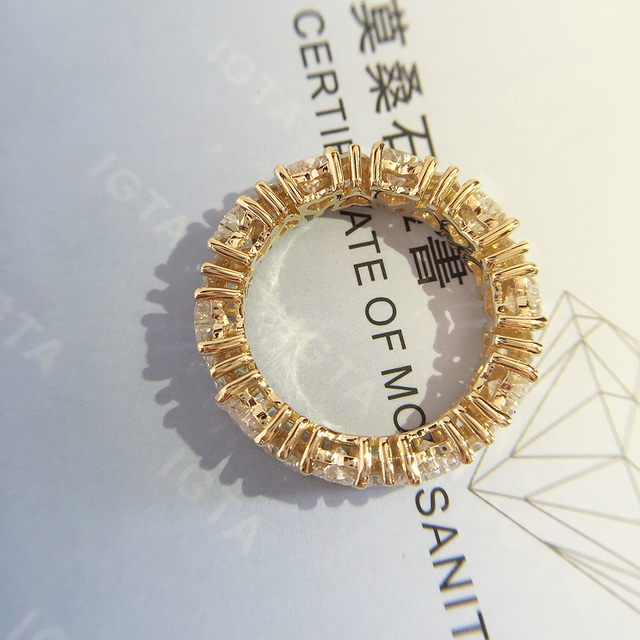 Solid 14K Yellow gold Heart Moissanite Enternity Full Diamond Band 3mm Df Color For Women