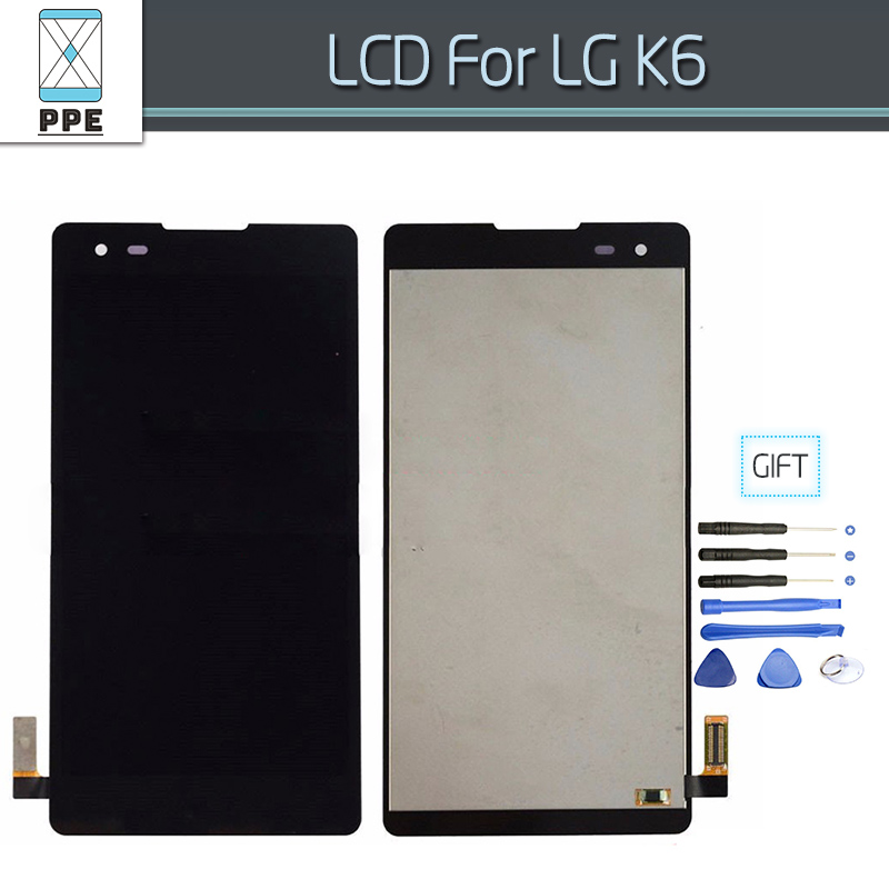 Original LCD Display+Touch screen Digitizer Assembly For LG K6 K200 K200DS Replacement LG-K200DS 5 inch LCD Black color+Tools