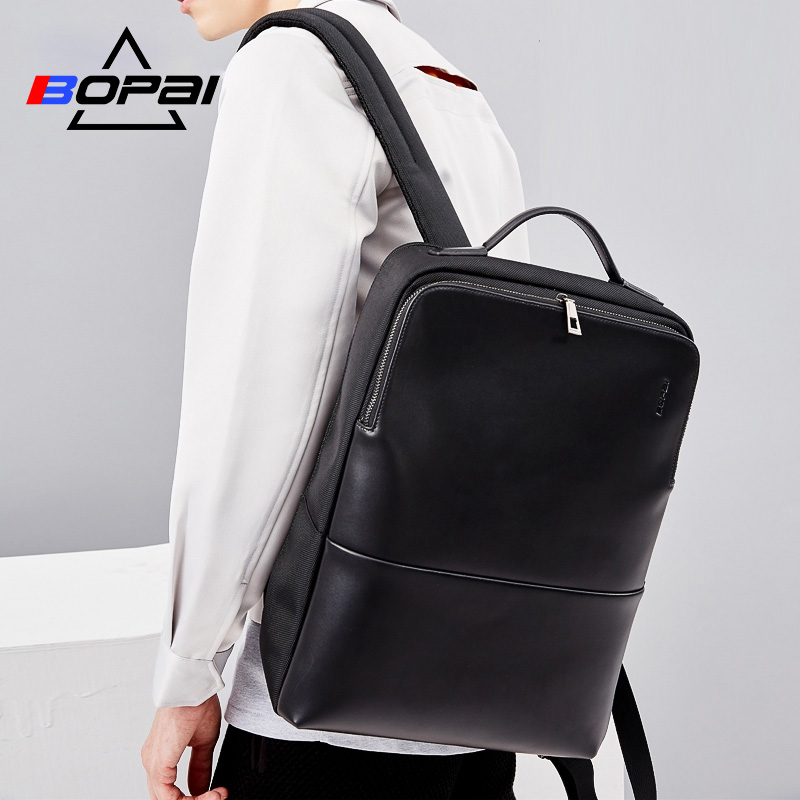 2018 BOPAI Cool Mens Backpacks Man Rucksack 14 Inch Laptop Bag Student Schoolbags Men Travel Leather Backpack Bags Black bagpack