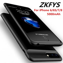 ZKFYS For iPhone 6 6S 7 8 Portable Magnetic Ultra Thin Fast Charger Battery Cover  5000mAh External Backup Power Bank Case