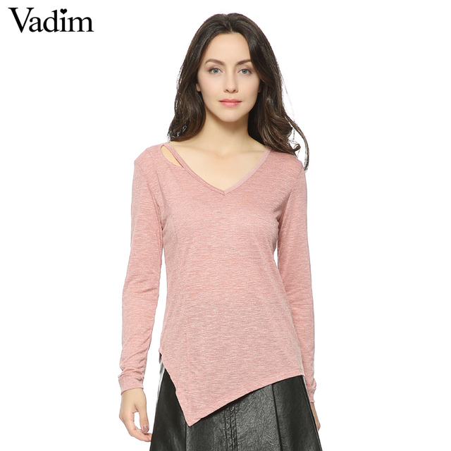 fac020ffd878 Women V neck loose shirts Hollow Out casual t shirt basic Long sleeve tees  cozy tops