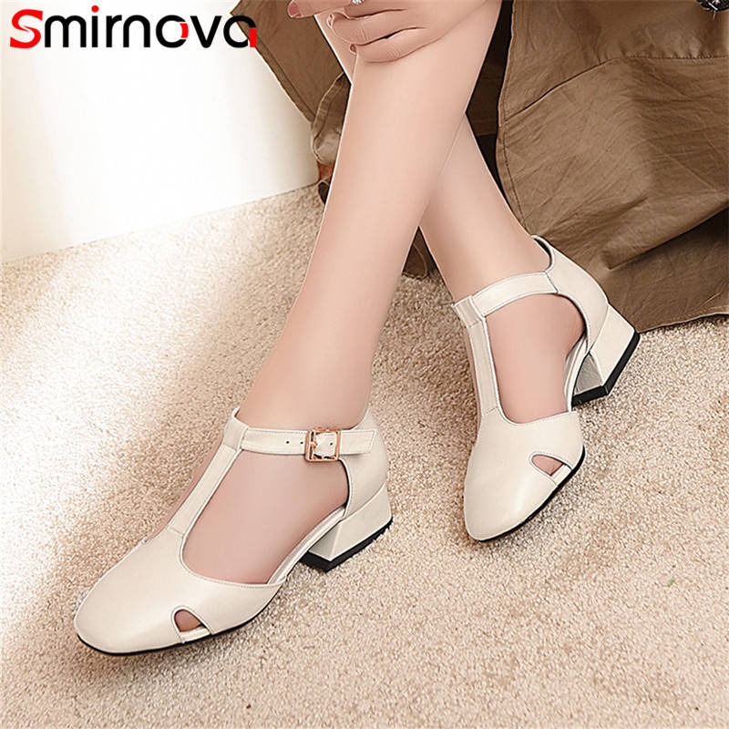 Smirnova black fashion spring summer new arrival shoes woman square toe buckle pumps women shoes low heels genuine leather shoes