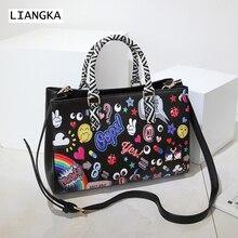 abe6058d1 LIANGKA العلامة التجارية النساء حقيبة الأوروبية الرموز التعبيرية قوس قزح  الأزهار المطبوعة حقيبة يد الأفعى الجلد