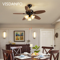 Trazo Black Vintage Ceiling Fan With Lights Remote Control Ventilador De Techo 220 Volt Bedroom Ceiling Light Fan Lamp