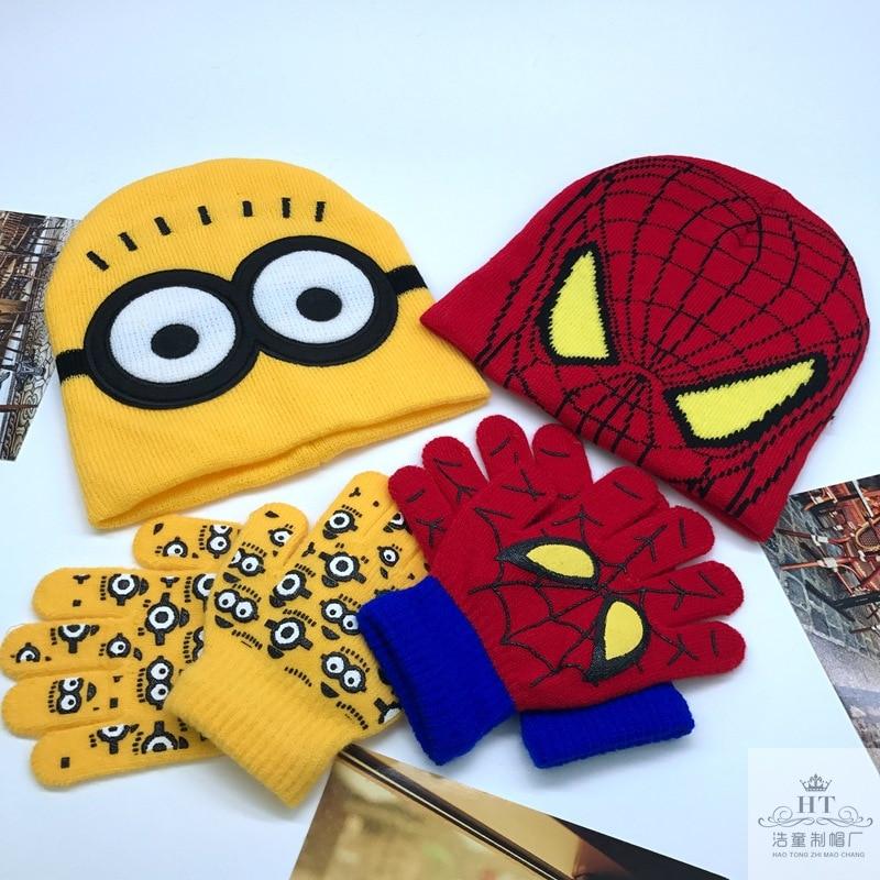 Children's Cap + Gloves Hat Cartoon Minions Glove Hats Sets Fashion Kids Baby Warm Knitted Caps Gloves  Beanies