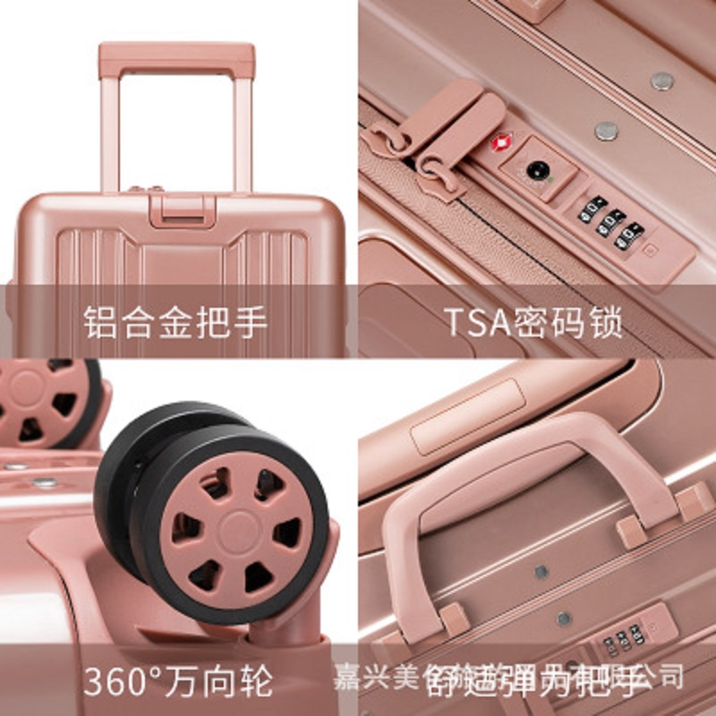 Flip cover Aluminum frame customs password lock business travel essential 20 inch Rolling Luggage Spinner brand Travel Suitcase
