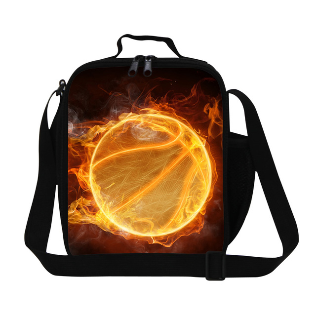 Ball Printing Fresh Small Lunch Bag With Drink Holder For Children Cool Mini Lunch Box Kids Picnic Meal Package Lunchbox