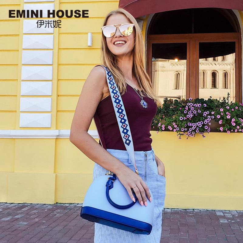 EMINI HOUSE Индийский стиль в виде ракушки сумка разделение Кожа Роскошные сумки для женщин дизайнер женская