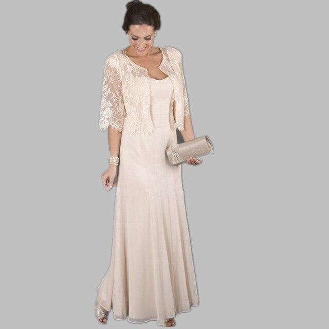 Элегантный шифон долго мать невесты платья с кружевом пальто перенос строк стиль свадебные женщины носят мать костюм
