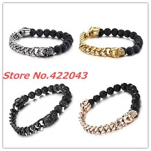 New Design High Quality Black Lava Stone Jewelry Beads With Skull Cuban Chain Bracelets Silver Gold Black Rose Gold Choose