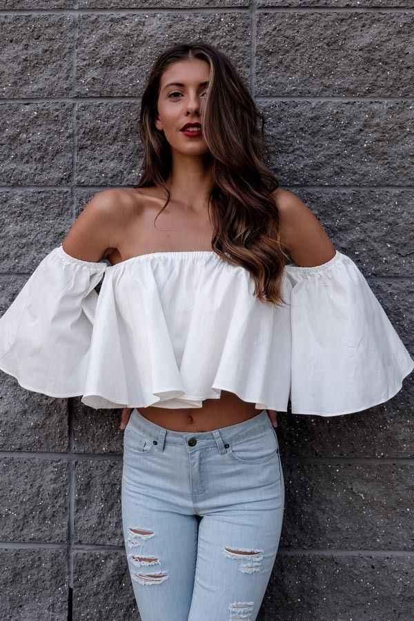 2018 Yaz Yeni Stil Moda Stok Kadın Parlama kollu Tankı üstleri omuz tee gömlek Kırpma Üst Kırpılmış