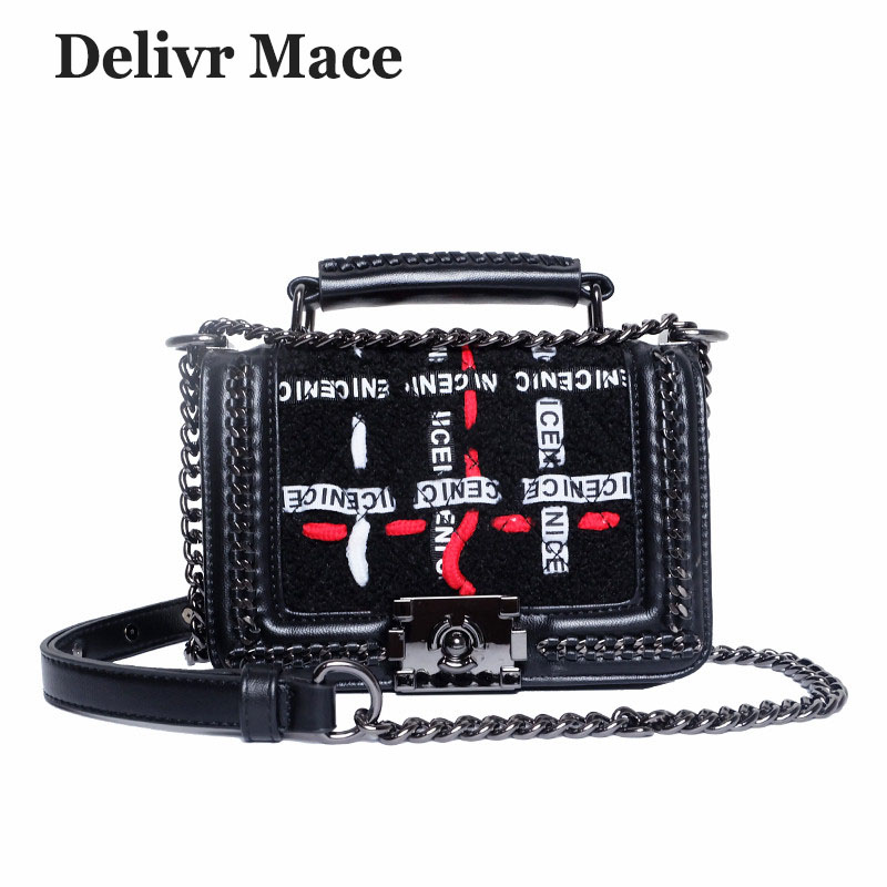Designer Handbags High Quality Woolen Letter Chain Studded Bags Small Shoulder Bag Female Crossbody Messenger Bag Sac A Main стоимость