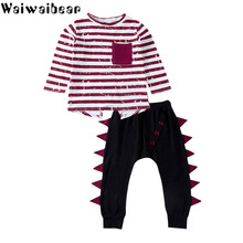Waiwaibear Baby Kids Sets Long-sleeved Striped  T-shirt Tops+Pants 2PCS Girls Outfits Clothes Set CC1