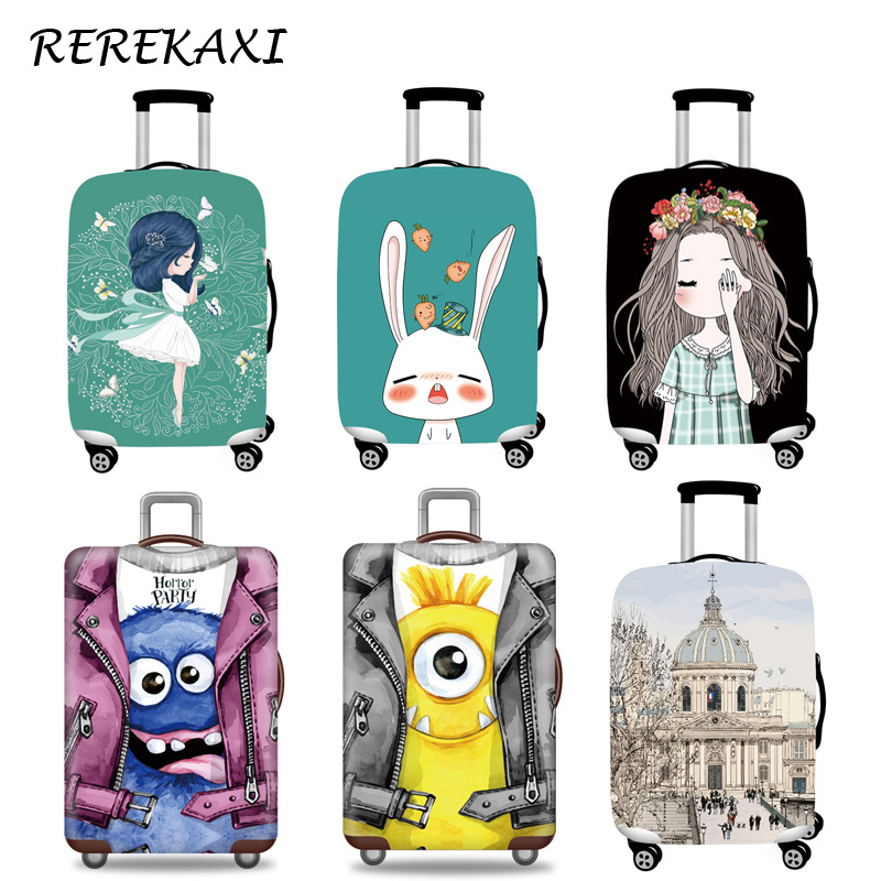REREKAXI Fashion Suitcase Luggage Cover 18-32 Inch Trolley Baggage Elastic Protection Cover Trunk Case Covers Travel Accessories