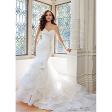 Custom Made Vestido De Novia White/Ivory Organza Applique Beading Ruffles Lace Mermaid Wedding Dress Bridal Gown
