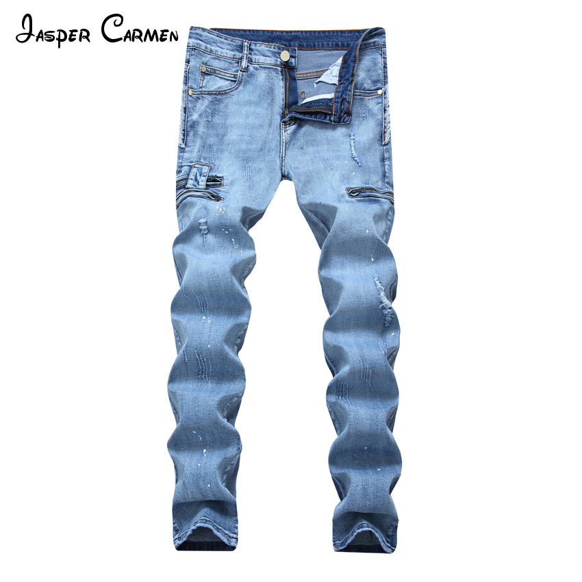 Free shipping 2017 NEW Brand Mens Jeans Trendy Stretch Blue Denim Men Slim Fit Jeans Trousers Pants Size 28-42 68z