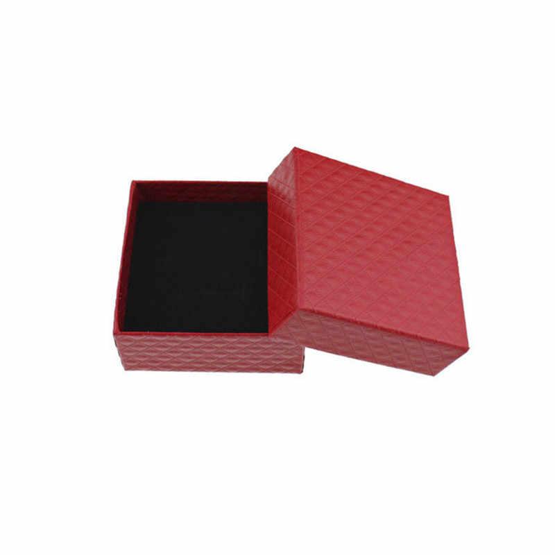 Nuevo 1 pc caja organizadora de joyería cuadrada anillo de compromiso para pendientes collar pulsera soporte de caja de regalo