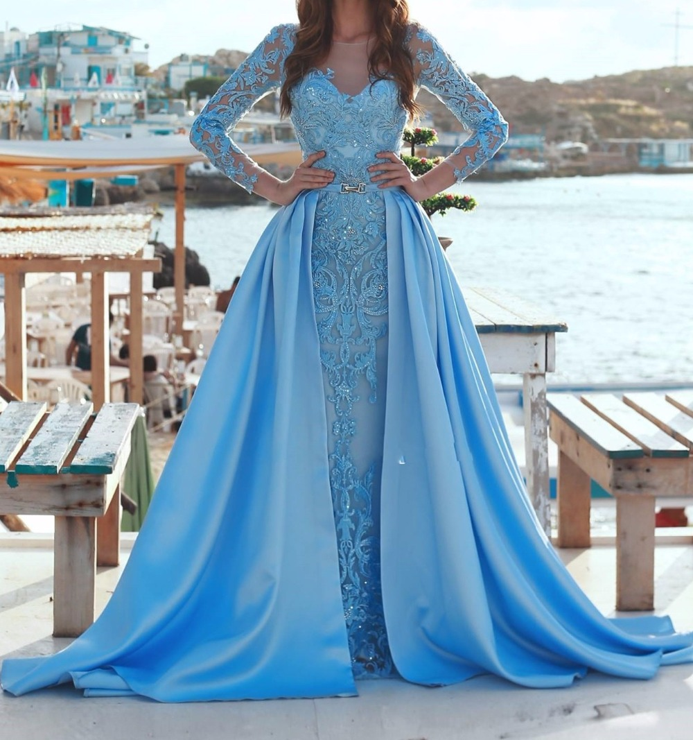 Новый красивый синий вечернее платье Длинные 2019 кружево с вечерние длинным рукавом Пром Элегантный abendkleider