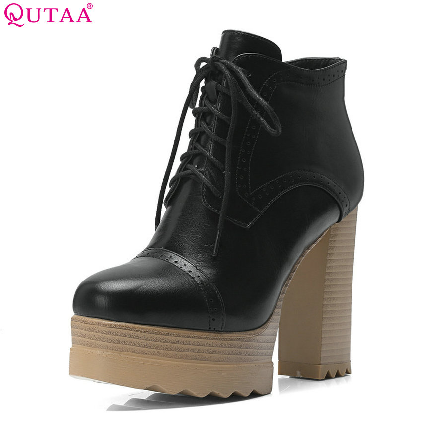 QUTAA 2019 Women Anke Noots Platform Square High Heel Round Toe Synthetic Winter Shoes Women Motorcycle Boots Big Size 34-42