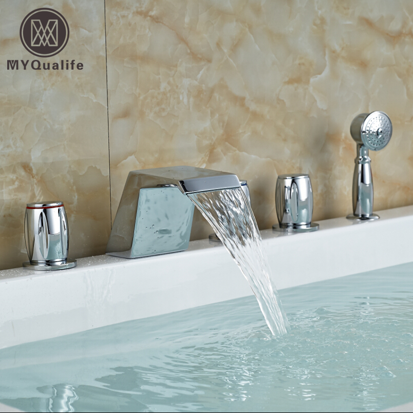 Brass Deck Mount Waterfall Spout Bathtub Mixer Taps Widespread with Handshower Bath Tub Faucet Set Chrome Finish