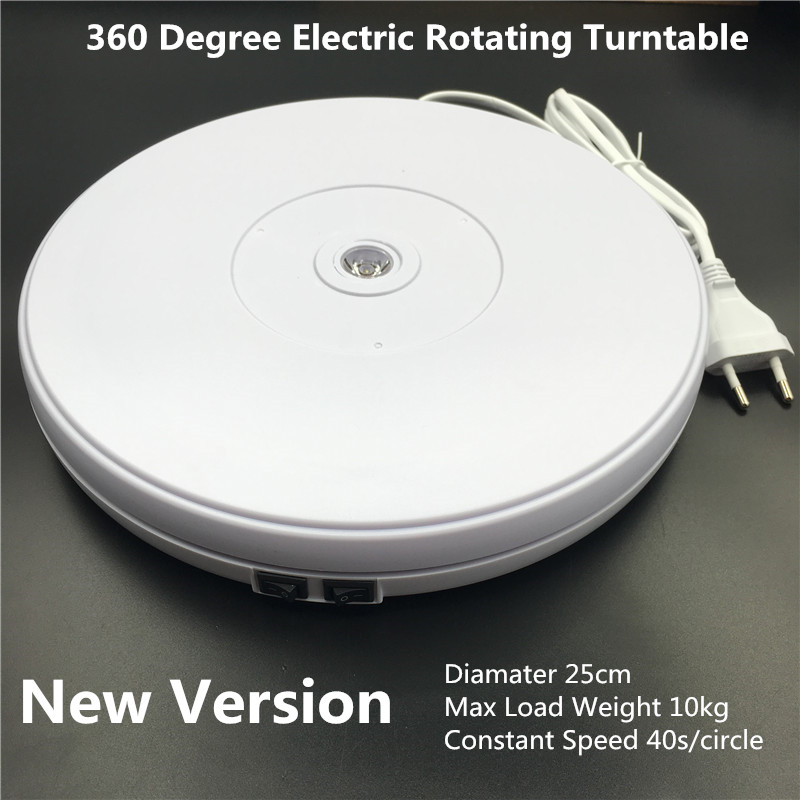 10 25cm Led Light 360 Degree Electric Rotating Turntable for Photography, Max Load 10kg 220V  110V
