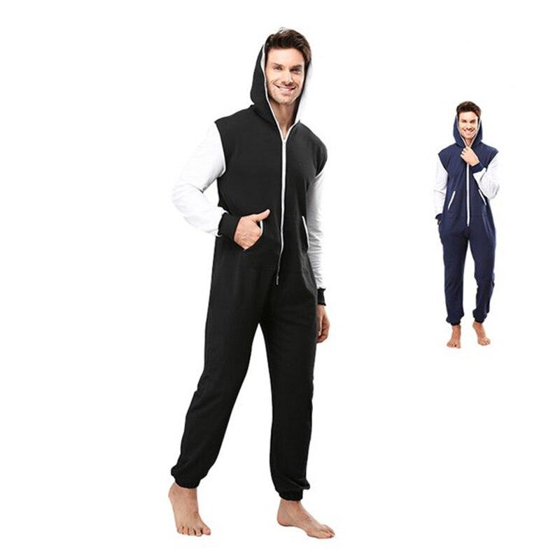 Centuryestar Pajamas Hoodies Winter Pyjamas Overall Suits Solid Color Sleepwear With Zipper Hooded Pijama Sets For Adults Men