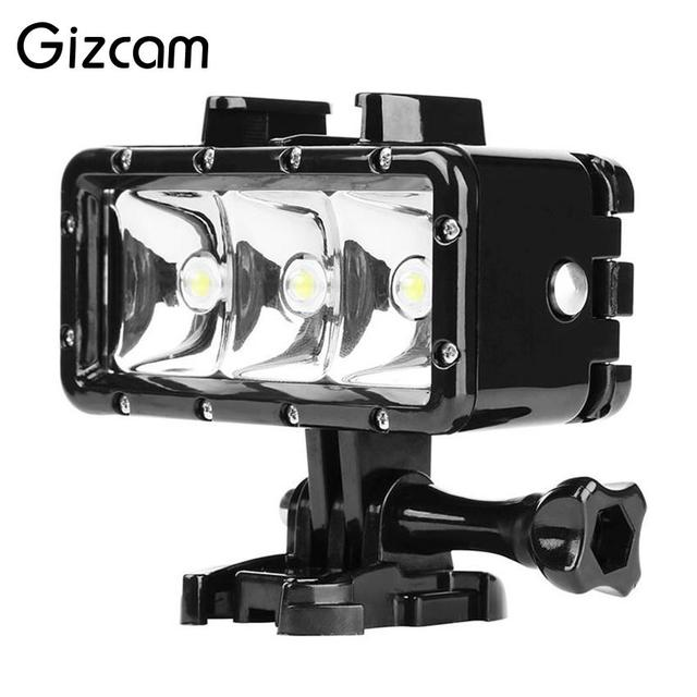 Gizcam Underwater 30M Diving Light High Power Waterproof 3 LED Video Light Lamp for Gopro 5/4/3+ for XIAOYI SJ5000 Action Camera