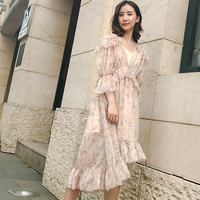 2018 New Luxury Brand ZIM Floral Print Ruffles Patchwork Casual Beach Vocation Party Dress Butterfly Sleeve Elegant Woman Dress