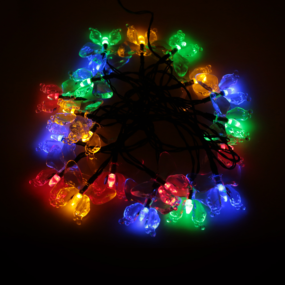 Animated christmas lights - 4 7m 20 Led Colorful Butterfly Led String Light Christmas Light Solar Powered Holiday Light For