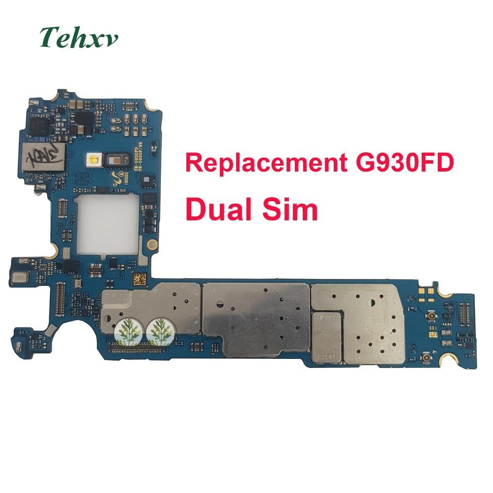 Tehxv Original For Samsung Galaxy S7 G930FD Motherboard 32GB unlocked Europe version Dual Sim Card Mainboard
