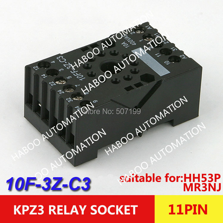 10pcs/lot plastic electrical socket 11pin suit for HH53P MY3NJ relay ROHS HABOO PF-113BE switch socket 10A 300V