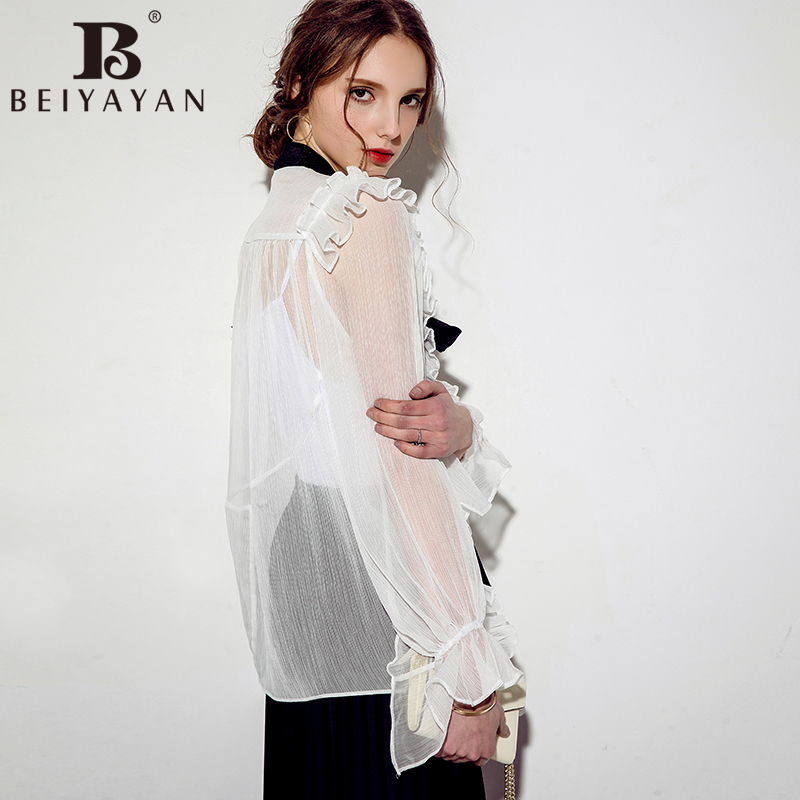 a44bf1ddd1b98 BEIYAYAN Ladies Fashion Blouses Bow Neck Long Puff Sleeve Ruffles Silk Sexy Sheer  Blouse Women-in Blouses   Shirts from Women s Clothing on Aliexpress.com ...