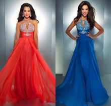 A-line Straps Sleeveless Chiffon Red Prom Dresses/Evening Dress With Beading Halter Neck Keyhole Crystal Dresses