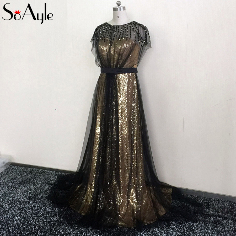 SoAyle Prom Dresses 2018 Sequin Gold Long Evening Dresses Haute Couture  Gorgeous Fashion Plus Size Formal Gowns Vestidos Longo-in Evening Dresses  from ... ba407a7c1b5f