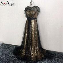 243501e3fd478 SoAyle Prom Dresses 2018 Sequin Gold Long Evening Dresses Haute Couture  Gorgeous Fashion Plus Size Formal