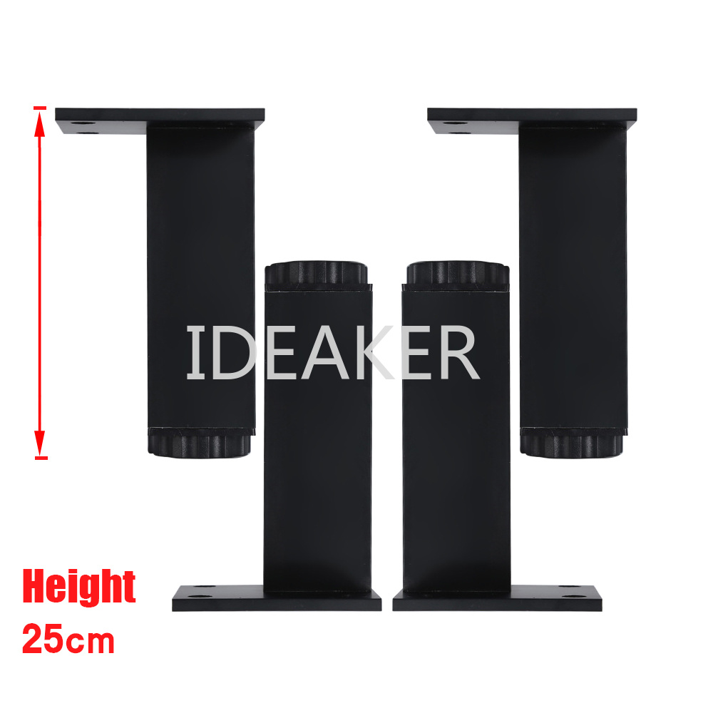 4PCS 250x38MM Aluminum Alloy Legs Height Adjustable Black Rectangle Feet Cabinet Table Legs