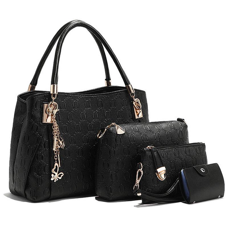 4 PCS / Set Handväska Läder Kvinnor Handväskor Flickor Axelväskor - Handväskor