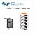 Serviços sem fio Sistema de Chamada de Garçom Para Restaurante Pager (1 Teclado + 15 Bases de Pagers Coaster + 2 Carregador)