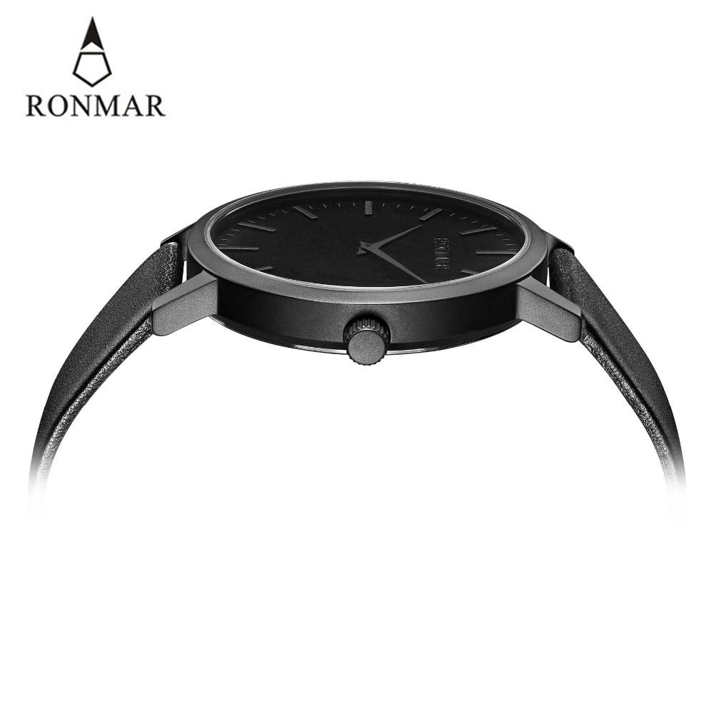 Reloj de lujo de los hombres 2018 de cuarzo de moda relojes de correa de cuero genuino relojes de oro RONMAR marca reloj resistente al agua - 6