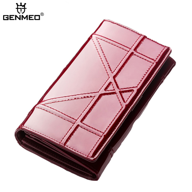 New Arrival Genuine Leather Wallets Women Cow Leather Clutch Bag Real Leather Wallet 2017 Female's Credit Card Holder Purse new arrival serpentine cow leather wallets women genuine leather wallet long real leather purse card holder clutch bag handbags
