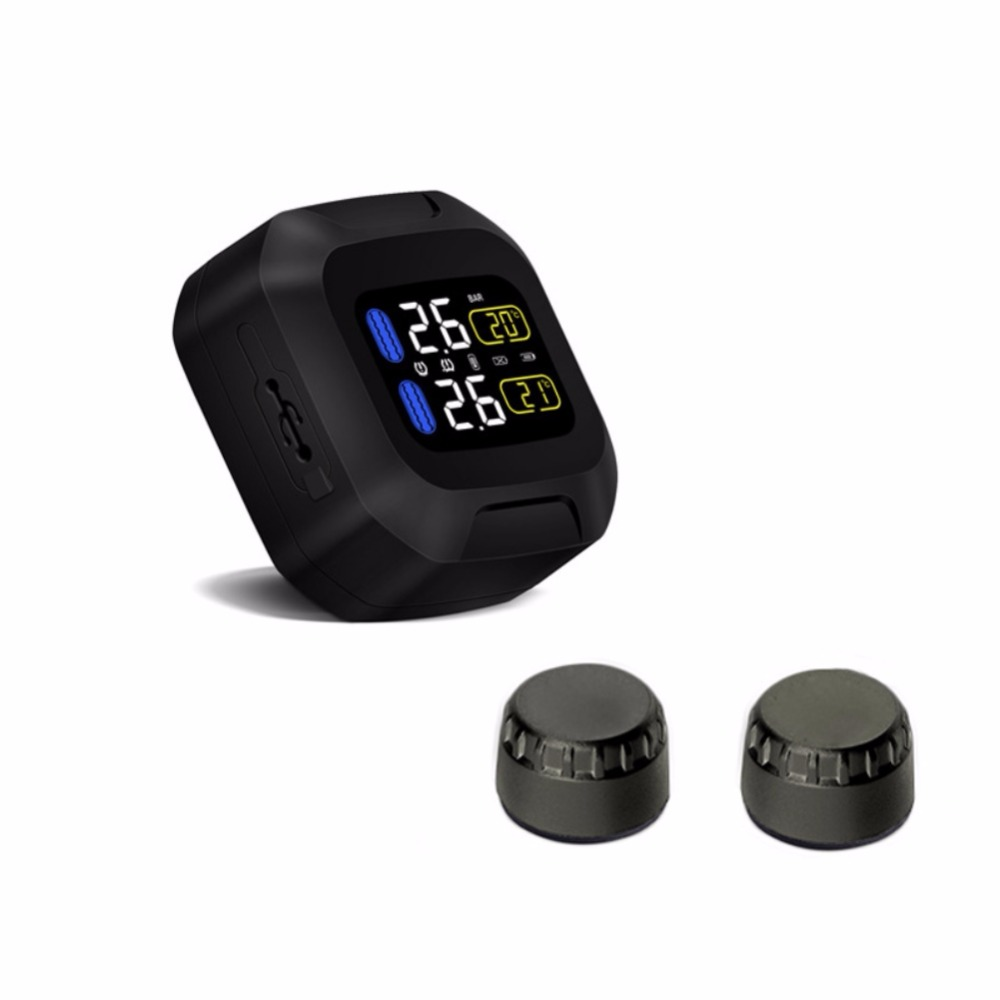 Image 2 - Original Engine Tire Pressure Monitoring System Wireless  TPMS Motorcycle Tire Alarm 2 External Sensor Moto Tools-in Tire Pressure Alarm from Automobiles & Motorcycles