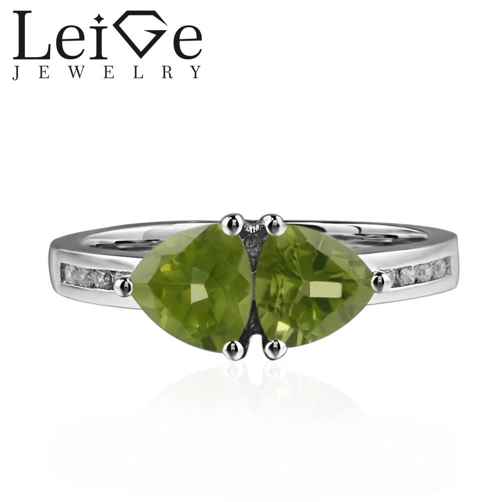 Leige Jewelry Genuine Natural Peridot Ring Romantic Gifts August Birthstone 925 Sterling Silver Ring Trillion Cut Green Gemstone leige jewelry real peridot rings proposal ring oval cut green gemstone ring august birthstone ring 925 sterling silver gifts