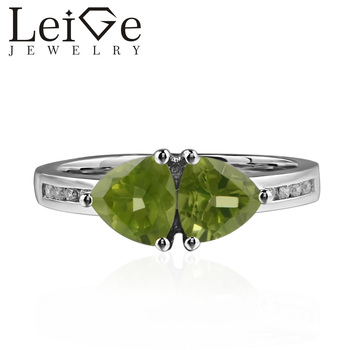Leige Jewelry Genuine Natural Peridot Ring Romantic Gifts August Birthstone 925 Sterling Silver Ring Trillion Cut Green Gemstone