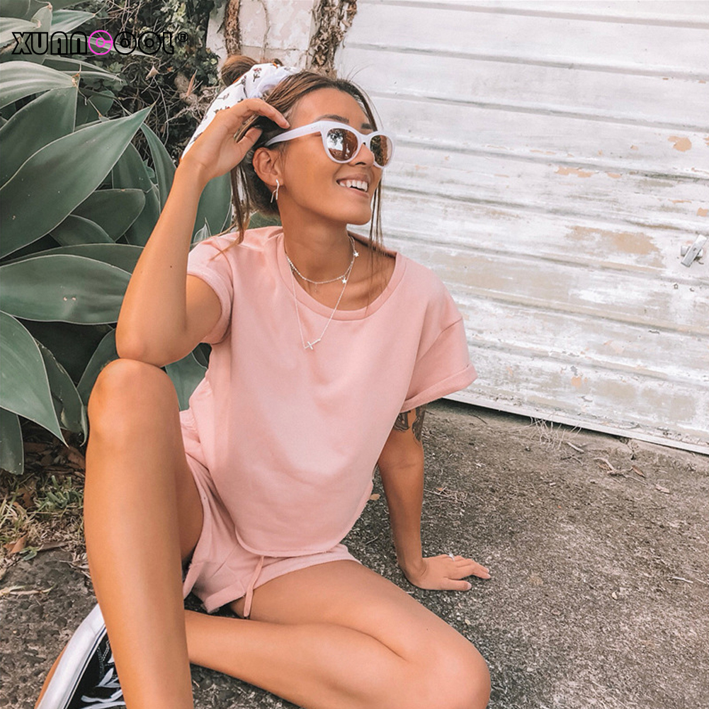 XUANCOOL 2019 Women Outfits Summer Casual Cotton Pink Solid Short Sleeve Crop Tops And Short Pants 2 Piece Set Ladies Tracksuits