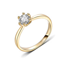Gold Color Classic Simple Design 6 Prong Sparkling Solitaire AAA Zirconia Forever Wedding Ring Fashion Desgin Ring Wholesale(China)