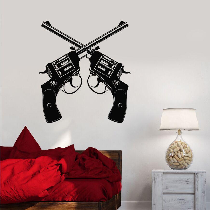vinyl wall decal gun shop revolver weapons wall sticker weapons